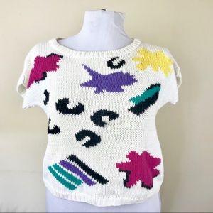 80 Vintage Campus Causals White Sweater